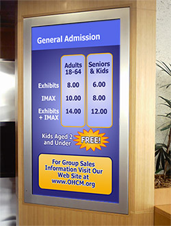 Museum General Admission Digital Signage